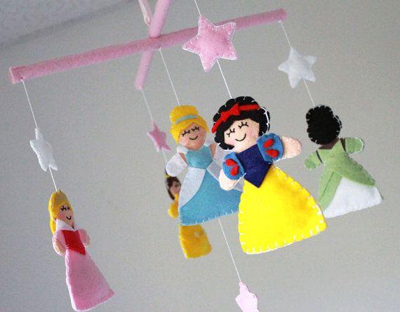 Princess mobile baby crib mobile disney princess for Princess crib mobile