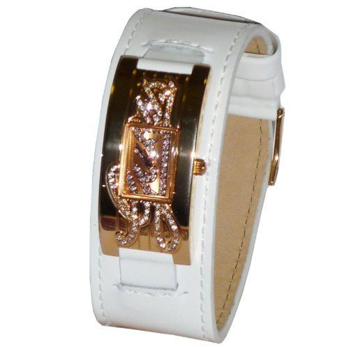 Guess Women's W10257L1 White Patent Leather Band Rose Gold Tone Watch *** Re...