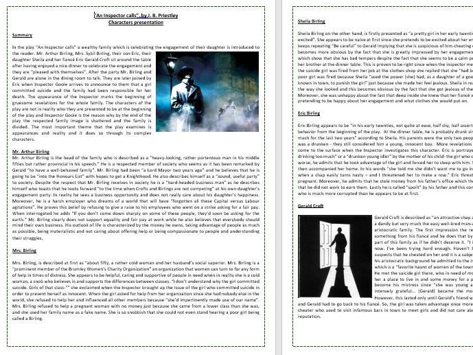 An Inspector Calls By J R Priestley Igcse Literature O Level Teaching Resources Inspector Calls Teaching Resources English Teaching Resources