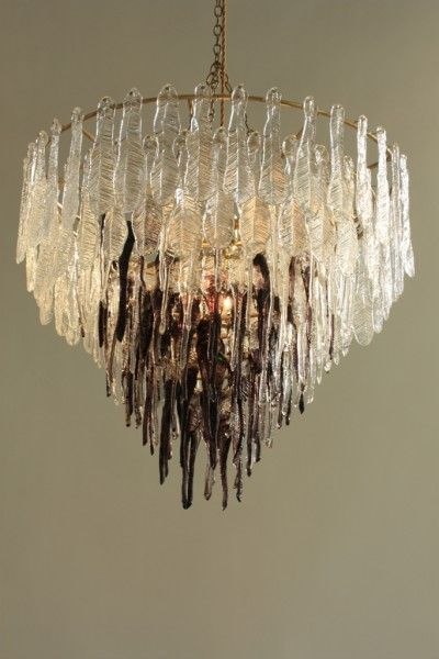 The Crystal Chain Gang 'Ruffle' (black chandelier, individually hot pressed glass feathers and brass frame)