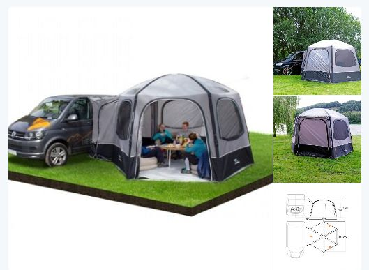 The Vango AirHub Hexaway at Viscount #Motorhomes #Southampton. The Hexaway connects directly to the side of your #campervan. Transforms into spacious gazebo for relaxing or as a useful storage area. Quick and easy to pitch. #Happycampers #Camping #Gazebo