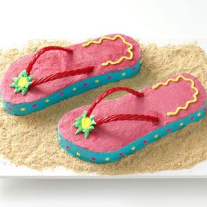 "Flip-Flop Cakes ~ This cake was made for a Summer Birthday Party  ~  it would be fun for a beach party or any summer get-together. You could also set a pair of sunglasses on the graham cracker ""sand."""