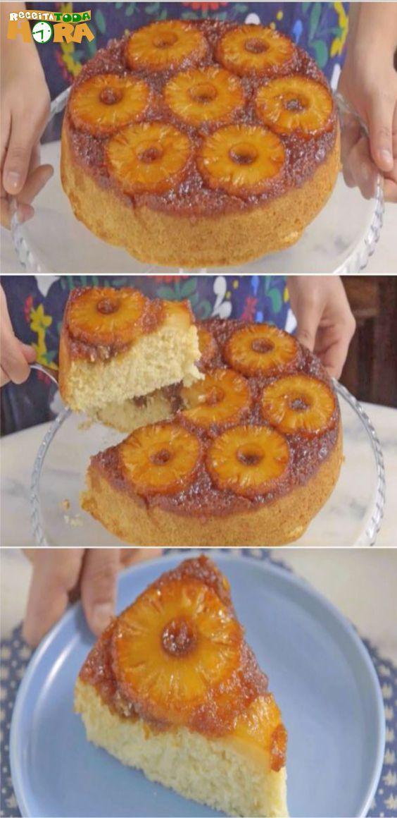 Torta Invertida de Abacaxi  TortaInvertidadeAbacaxi  TortaInvertida   Receitatodahora 38bddaee395
