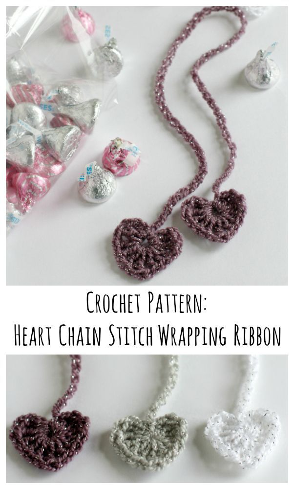 Crochet Heart Chain Stitch Ribbons