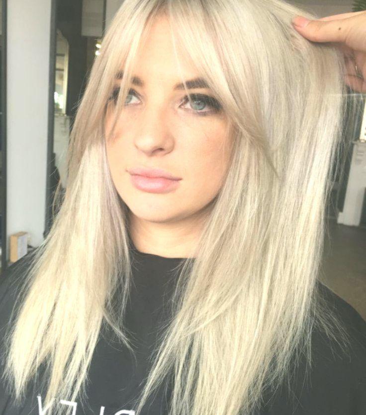 Blonde Platinum Silver Hair Colour And Curtain Bangs Hairstyles Bangshairstyles Silver Hair Color Short Hair With Bangs Short Hair Fringe