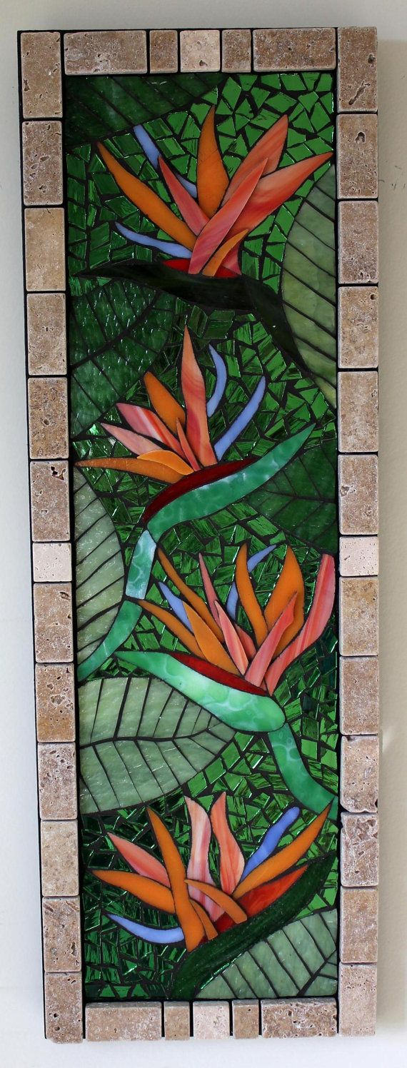 Glass+Mosaic+Birds+of+Paradise+Flowers+by+GlassArtsStudio+on+Etsy