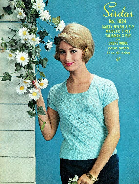 PDF Vintage Womens Ladies Knitting Pattern Summer Sweet Heart