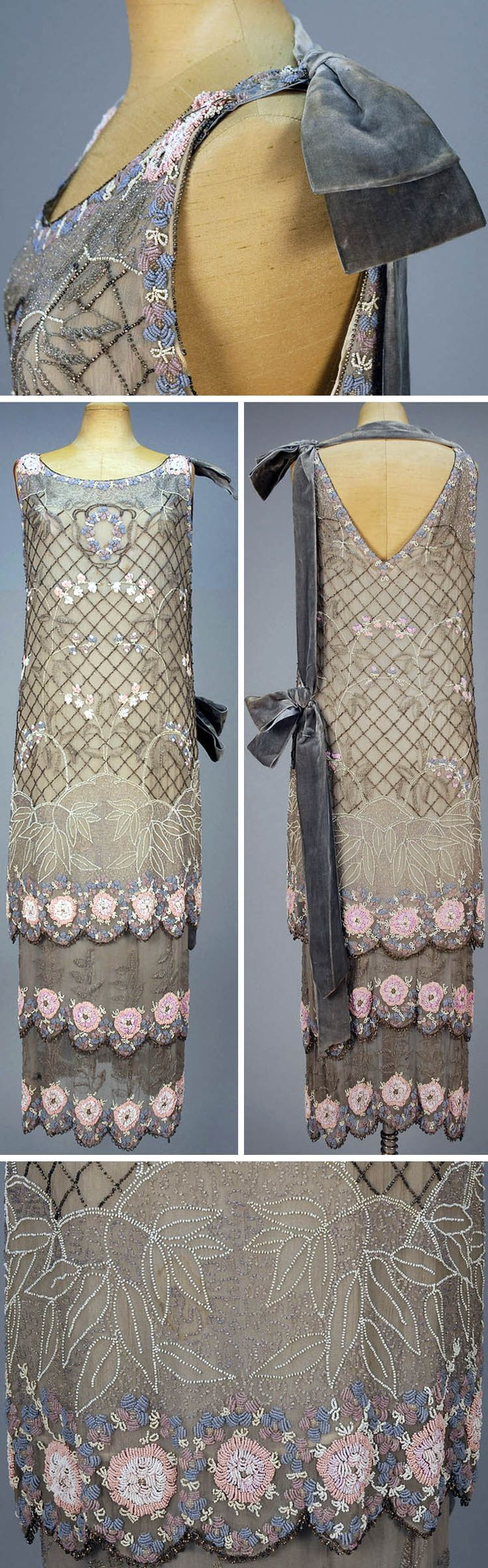 ~Two-piece gray silk evening dress ca. 1920s~  Sleeveless tunic and under-dress decorated with a pastel floral on a lattice of black iridill beads. Two-tiered under-dress; all with scalloped hem bands. Whitaker Auctions