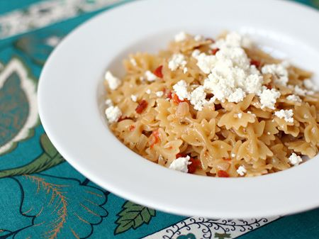 Rissotto style Pasta with Goat cheese and sUN dried tomatos