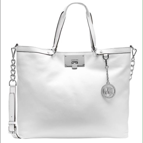 Michael Kors Channing Beautiful optic white large Channing tote with silver  detail. Dust bag included