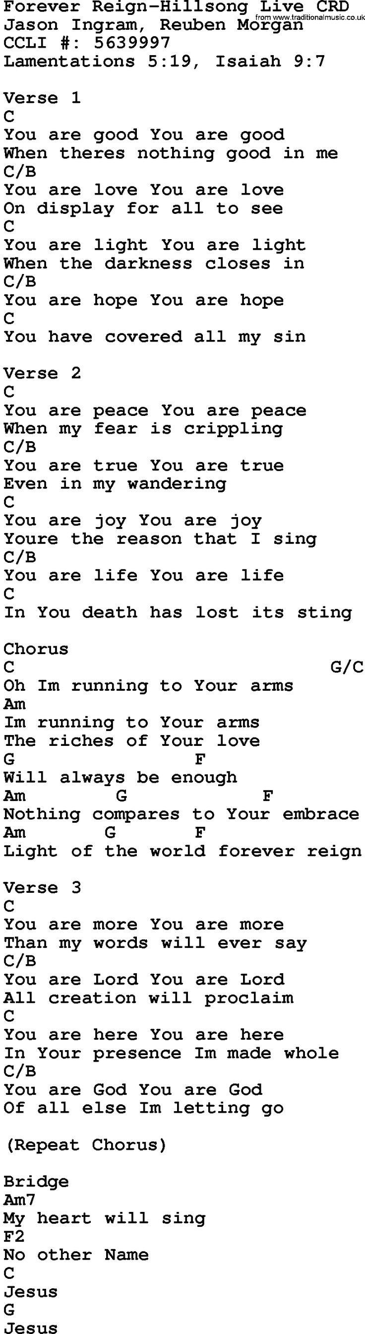 Gospel Song: Forever Reign-Hillsong Live, lyrics and chords.