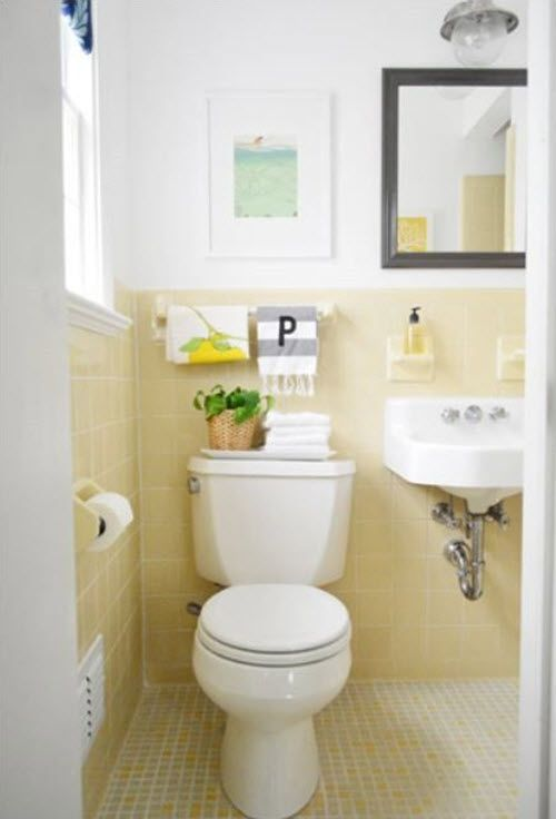 weve all seen those bathrooms tiled in colorful ceramics from way back in the day instead of fighting it go with it and have fun while youre doing - Bathroom Ideas Yellow