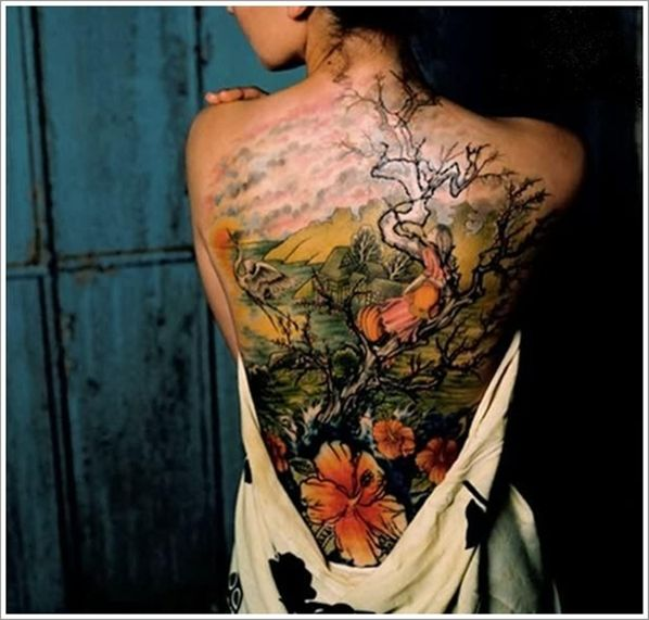 Girls full body tattoo Cherry blossom tree with large flowers blooming all along the side of a girl's body in reds and browns. Description from pinterest.com. I searched for this on bing.com/images