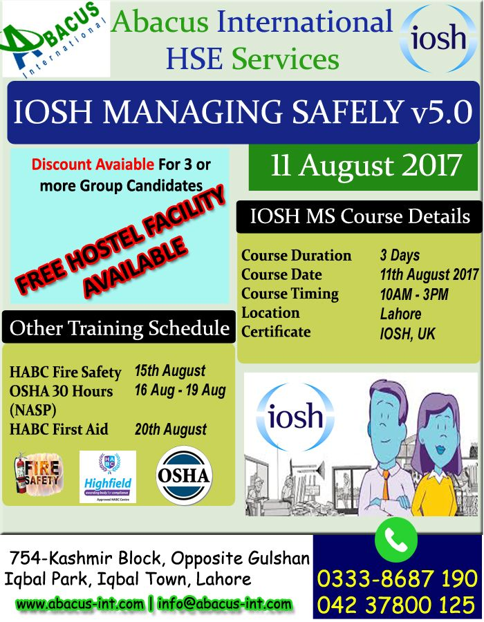 03345277400 IOSH Course in Lahore Pakistan 2019