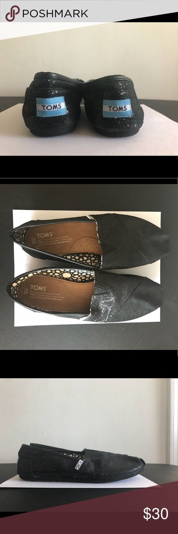 Black, Glitter Toms Toms! Barely worn. Black glitter with black sole. Toms Shoes Flats & Loafers