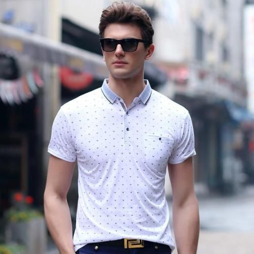 Menswear  gentclothes:  White Polo Shirt with Dot Print Use code
