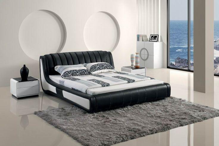 Modern Black Tufted Leatherette bed