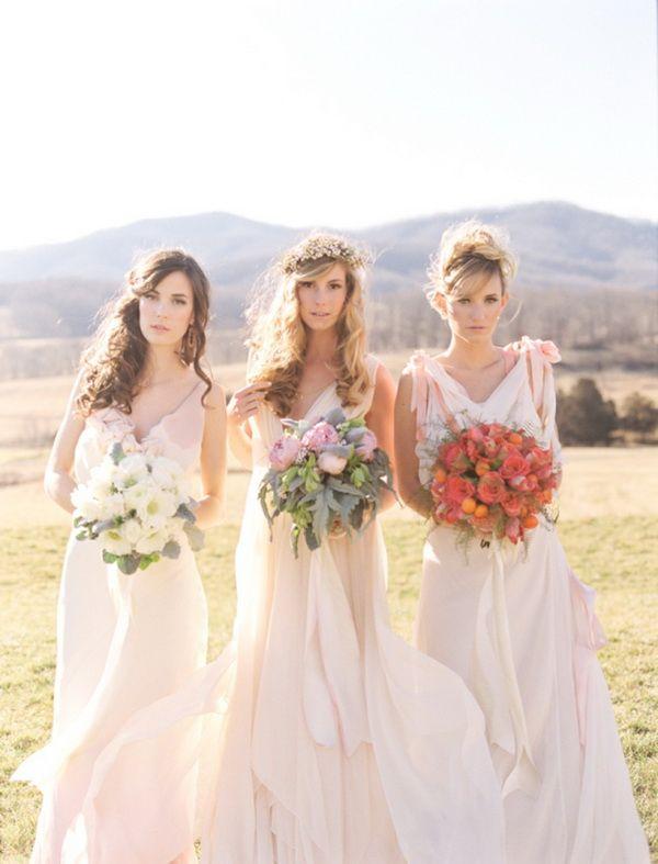 romantic bohemian wedding dress and brideesmaid gowns