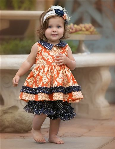 Baby by Persnickety Clothing Alpine Daisy Baby Doll Dress in Orange Spring 2015 Delivery 4