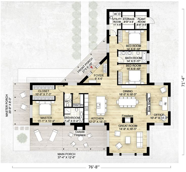 Contemporary Style House Plan - 3 Beds 2.5 Baths 2180 Sq/Ft Plan #924-1 Floor Plan - Main Floor Plan - Houseplans.com