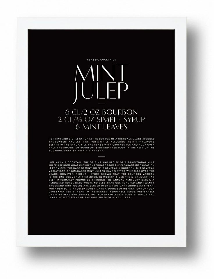 Mint Julep typographic cocktail poster