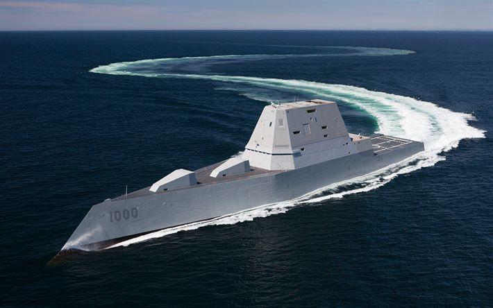 Download wallpapers USS Zumwalt, DDG-1000, guide missile destroyers, Zumwalt class, US Navy, sea, stealth ship, USA