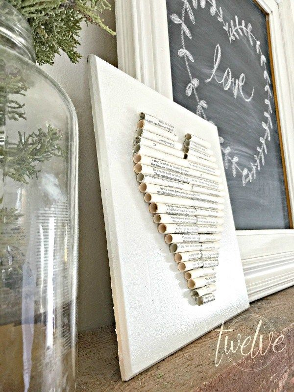 rolled book page heart art farmhouse valentines decor - Book Page Decorations