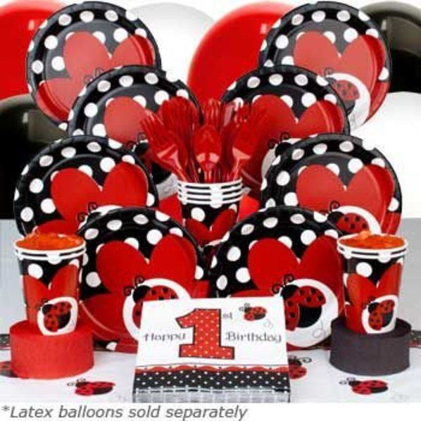 Check out Ladybug 1st Birthday Deluxe Tableware Kit Serves 8 - Wholesale Party Supplies from Wholesale Party Supplies