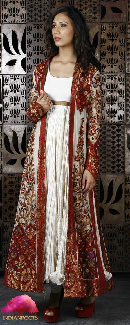 Ivory & Wine Net Long Jacket with Thread Embroidery by Rohit Bal at Indianroots.com