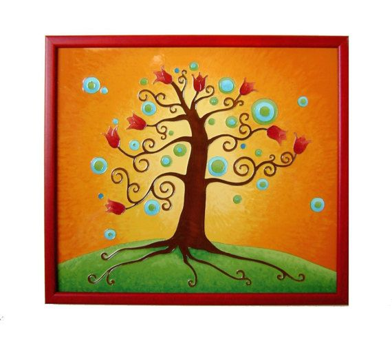 Tree of Life wall picture with Tulips, Tree of Life Home Decor, Glass Paiting pictura, Original Paiting Tree of Life Wedding Gift