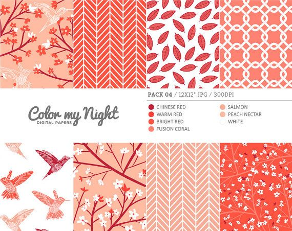 Digital Paper Red 'Pack04' Blossom Flowers by ColorMyNight on Etsy