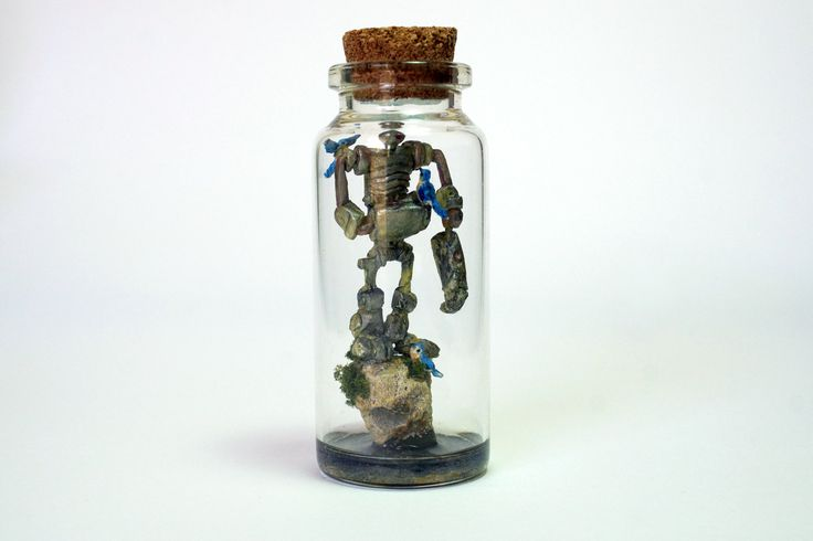 TinyLand #43Glass Bottle,Robot,Bird,Handmade,Personalised Gift,Nature,Terrarium,Tiny world,Miniature,Fun Gift,Steampunk by TinyLandme on Etsy