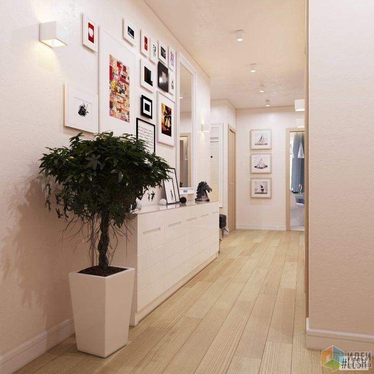 В коридоре также располагается небольшой комод, над которым в будущем будут висеть памятные семейные фотографии. Чтобы создать ощущение свежести в прихожей и коридоре, здесь решили разместить также небольшие деревца в горшках.