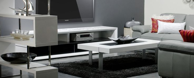 Manhattan Collection white  Art deco inspired design, this collection features brushed stainless steel detail and black glass, perfect to create a chic, stylish New York apartment look. While you may not live uptown, at least create a slice of the lifestyle.