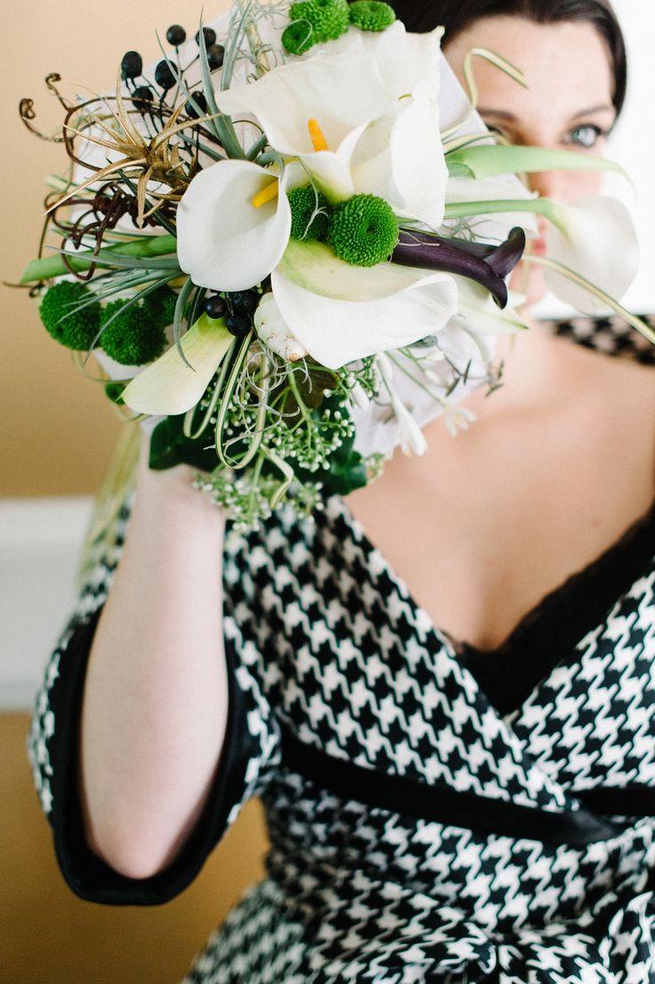 Vogue Inspiration, Modern Bride, Black and White Wedding. Black white bouquet with pops of green. Gavin Rajah dress