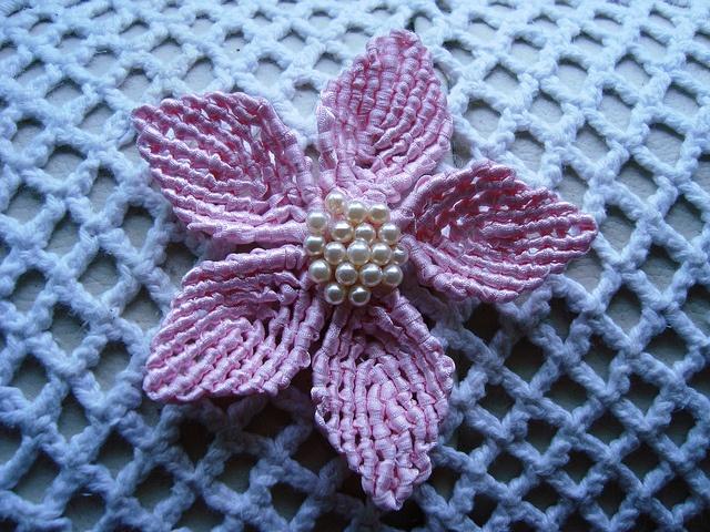 Macrame flower with beaded center