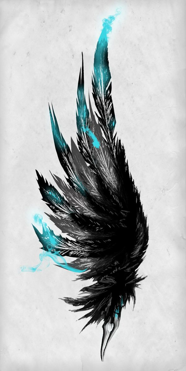 Teal & black feather drawing by Brandon McCamey; a good tattoo idea...