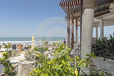 Fragment of restaurant on the beach on the Atlantic Ocean in Gambia. Africa