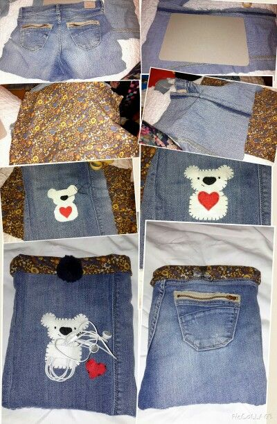 """For my samsung note 10"""" DIY cover with headphone holder and pocket for charger, recycled jeans"""