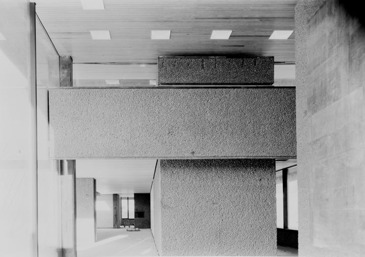Interior view of stairwell in Asker City Hall by Teigens Fotoatelier, 1963. DEXTRA Photo, CC BY