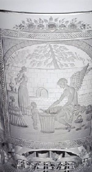 Detail - Simm, Anton (Bohemian, 1799-1873), Engraver - probably1835 - 1840 Ze sbírky vlastníka Corning Museum of Glass    Název: Beaker     Datum: 1835 - 1840     object name: Beaker     engraver: Simm, Anton (Bohemian, 1799-1873), Engraver - probably     dimensions: Overall H: 12.2 cm; Rim Diam: 8.9 cm; Foot Diam: 7.7 cm     Původ: Gift of The Ruth Bryan Strauss Memorial Foundation