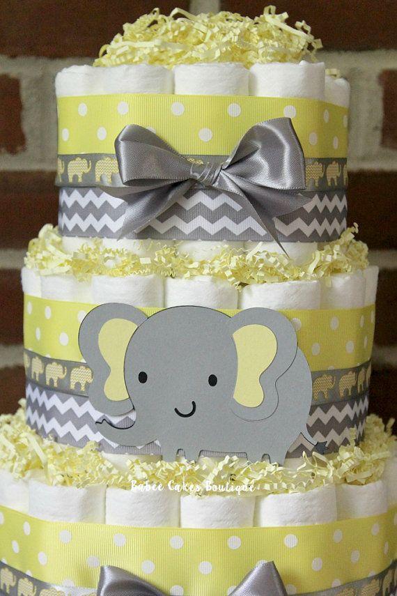 Diaper Cake Elephant Gray White Yellow