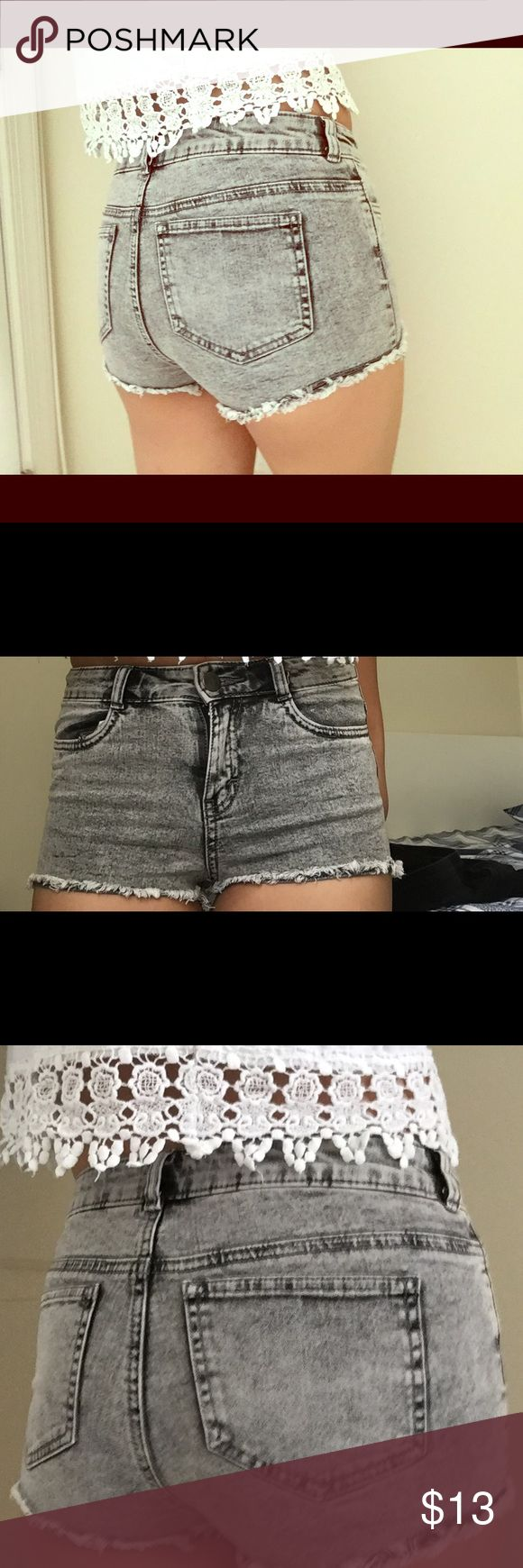 Gray Acid Washed Shorts • gray acid washed design shorts • frayed design at the ends of shorts • size 4 US & CA, 34 in EU only worn once, no damages xx H&M Shorts Jean Shorts