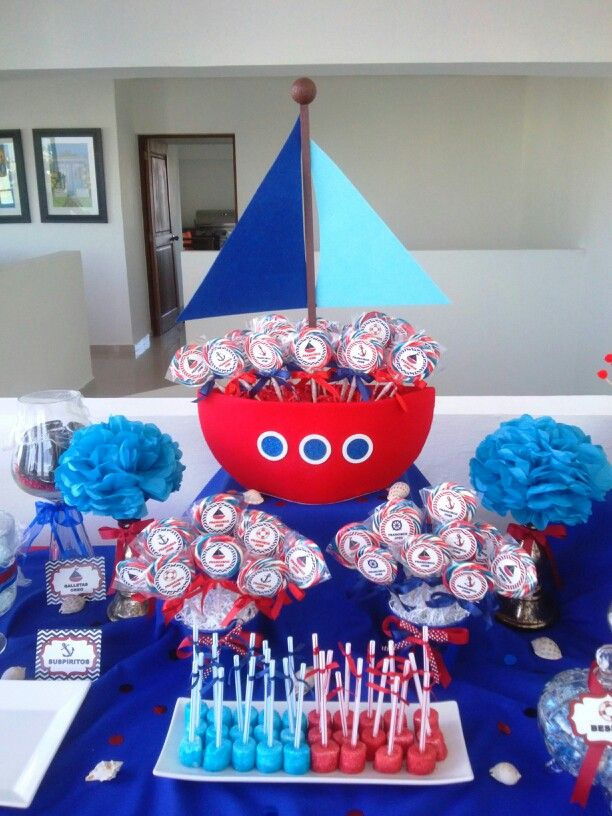 Nautical candy buffet creations by me pinterest for Anchor decoration party