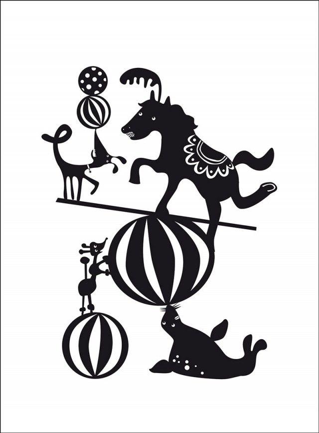 Circus poster by designer duo Ejvor! #nordicdesigncollective #ejvor #balance #horse #circus #animal #dog #ball #balls #poodle #seal #trick #poster #print #kidsposter #childrensposter #forkids #kidsroom #forchildren #childrensroom #cirkus #swedishdesign #nordicdesign #blackandwhite