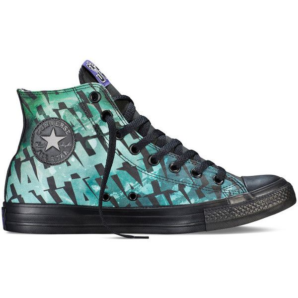 Converse Chuck Taylor DC Comics Joker – black Sneakers (£48) ❤ liked on Polyvore featuring shoes, sneakers, converse, black, rubber footwear, black shoes, black cap, kohl shoes and star sneakers