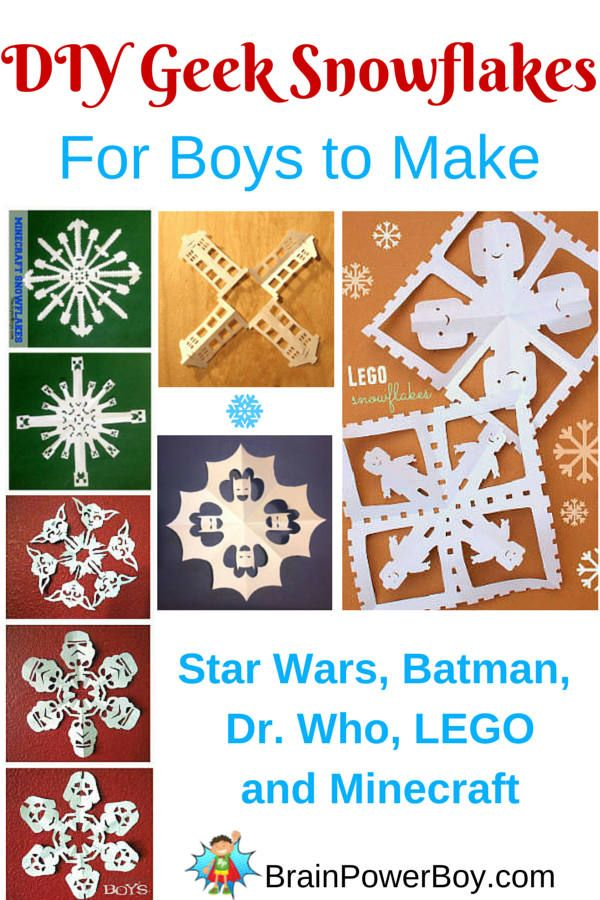 Geek Snowflakes! Get your boys crafting with some super geek snowflake designs. Includes videos with folding and cutting instructions.