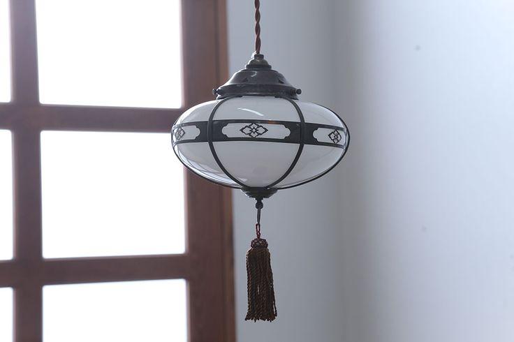 アンティーク 銅の装飾が素敵な雪洞(ぼんぼり)吊り下げ照明