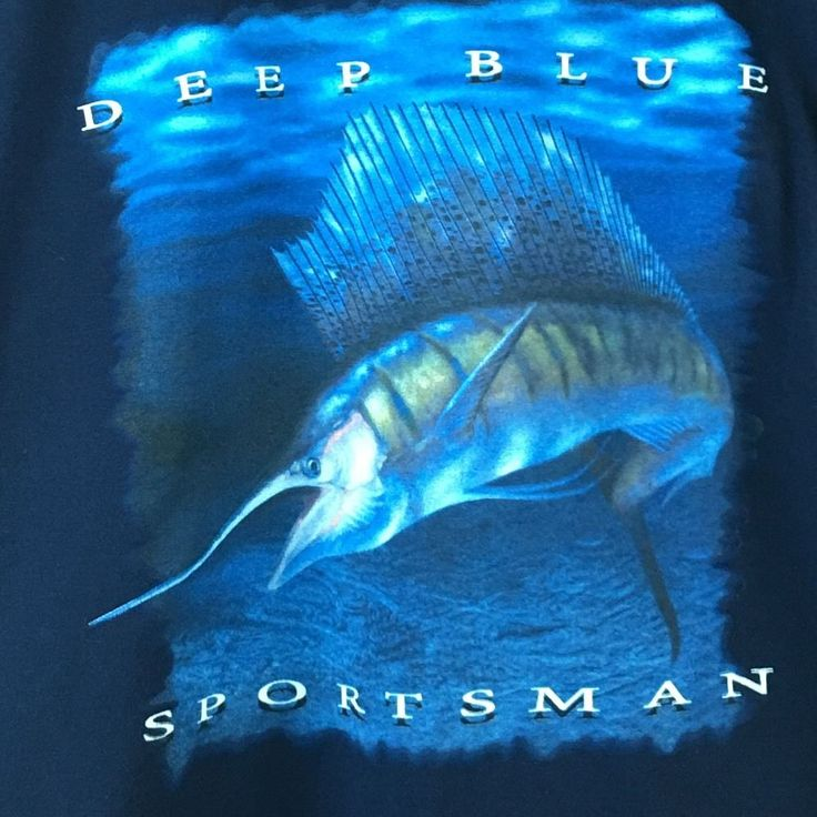 Deep Sea Fishing T-Shirt Size XL Blue Marlin Croft and Barrow Blue Short Sleeve #CroftBarrow #GraphicTee