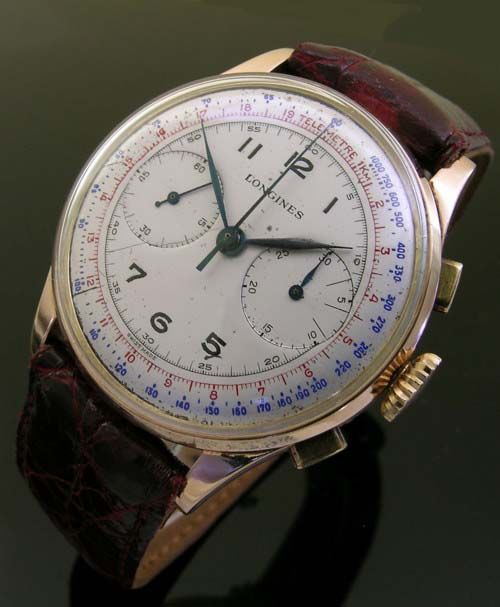 1930s 18ct gold vintage Longines Chronograph watch (3211)